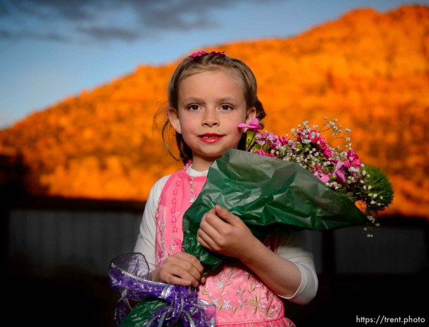 (Trent Nelson | The Salt Lake Tribune) A princess party was thrown for several young FLDS girls in Colorado City, Ariz., Friday March 16, 2018, as a reward for reading books. Before the party, Kathy Bistline posed for a portrait.