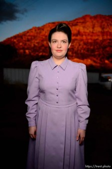 (Trent Nelson | The Salt Lake Tribune) A princess party was thrown for several young FLDS girls in Colorado City, Ariz., Friday March 16, 2018, as a reward for reading books. Before the party, Angela posed for a portrait.