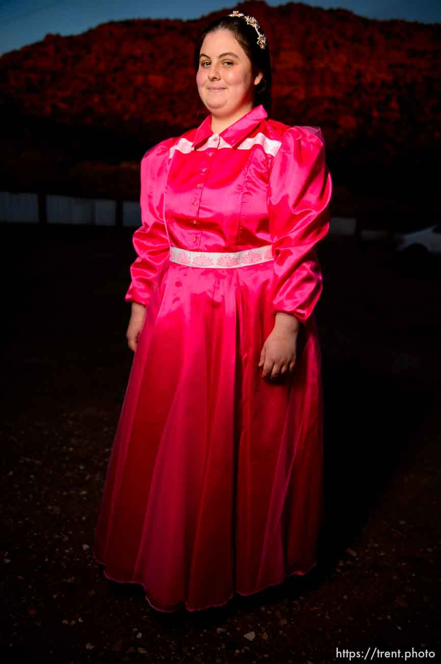 (Trent Nelson | The Salt Lake Tribune) A princess party was thrown for several young FLDS girls in Colorado City, Ariz., Friday March 16, 2018, as a reward for reading books. Before the party, Selena, a portrait.