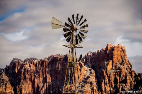 windmills, vermillion cliffs, Hildale/Colorado City, Friday March 16, 2018.