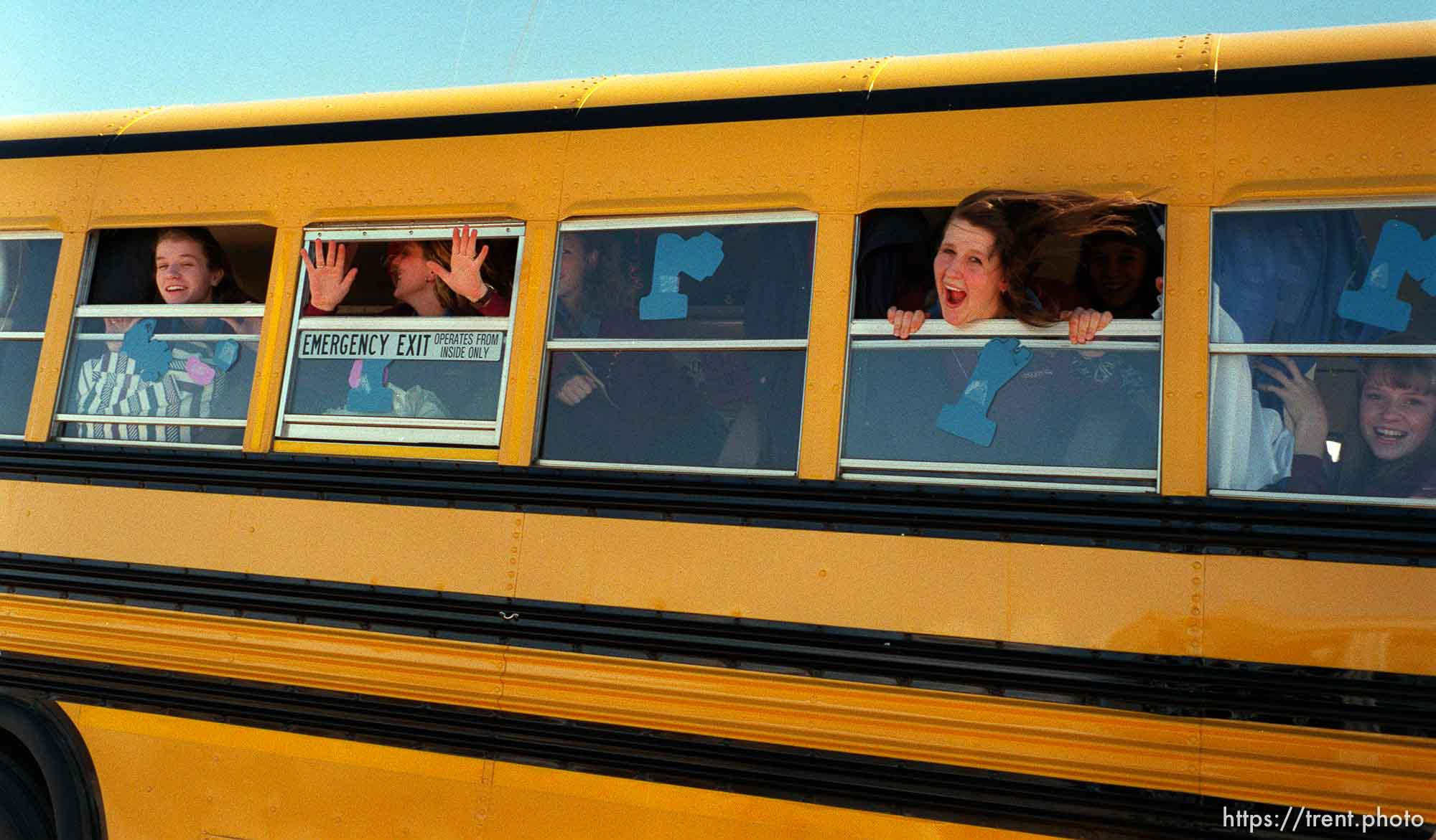 Girls team on bus. North Sevier Wolves state basketball championship essay.