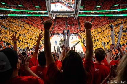 (Trent Nelson | The Salt Lake Tribune) Utah Jazz host the Oklahoma City Thunder, Game 3, NBA playoff basketball in Salt Lake City, Saturday April 21, 2018. Fans cheer in the fourth quarter.