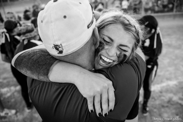 (Trent Nelson | The Salt Lake Tribune) Box Elder beats Bountiful High School in the 5A Softball State Championship game, Thursday May 24, 2018. Box Elder's Mallory Merrill (23).