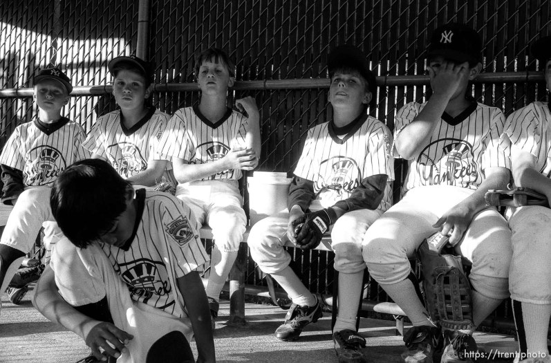 Yankees in dugout after game