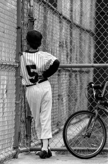 Player in dugout at Yankees game
