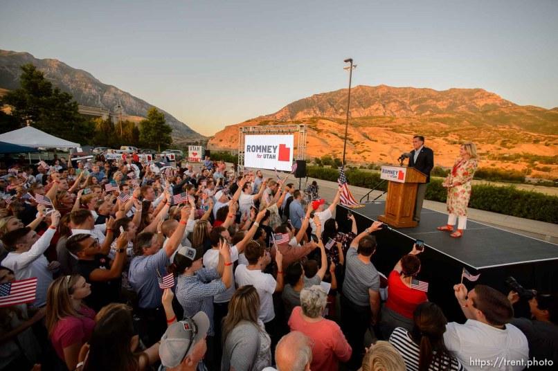 (Trent Nelson | The Salt Lake Tribune) Mitt Romney speaks in Orem after winning the Republican primary for U.S. Senate, Tuesday June 26, 2018. Ann Romney at right.