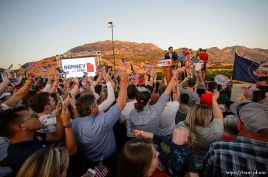 (Trent Nelson | The Salt Lake Tribune) Surrounded by family, Mitt Romney speaks in Orem after winning the Republican primary for U.S. Senate, Tuesday June 26, 2018.