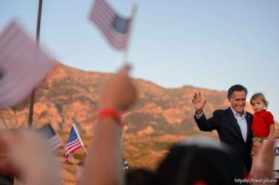 (Trent Nelson   The Salt Lake Tribune) Mitt Romney speaks in Orem after winning the Republican primary for U.S. Senate, Tuesday June 26, 2018. Ann Romney at right.