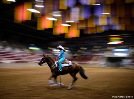 (Trent Nelson | The Salt Lake Tribune) Contestants in the Miss Utah Rodeo pageant compete in the horsemanship competition at the Golden Spike Arena in Ogden, Thursday July 19, 2018. McKaylie Richins.
