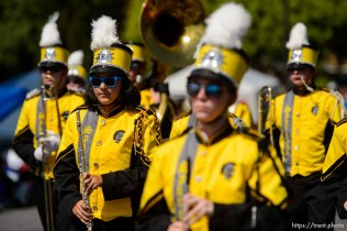 (Trent Nelson | The Salt Lake Tribune) The Days of '47 Parade in Salt Lake City, Tuesday July 24, 2018. Emery High School Spartan Band.