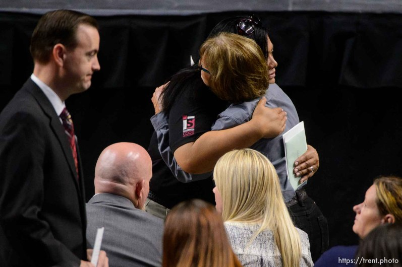 (Trent Nelson | The Salt Lake Tribune) Funeral services for Jill Robinson, a West Valley City code-enforcement officer killed on the job last week. The service took place at the Maverik Center in West Valley City on Friday Aug. 17, 2018.