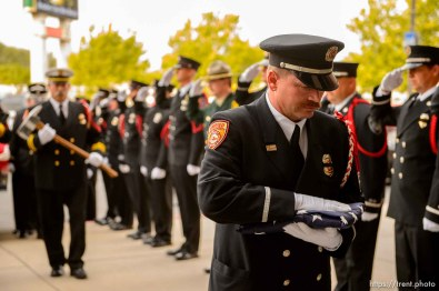 (Trent Nelson | The Salt Lake Tribune) Honor Guard at the funeral services for Battalion Chief Matthew Burchett at the Maverik Center in West Valley City, Monday Aug. 20, 2018.