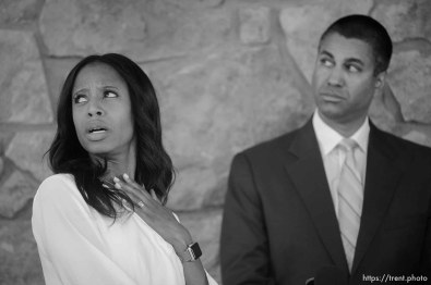 "(Trent Nelson | The Salt Lake Tribune) FCC Chairman Ajit Pai and Rep. Mia Love react to a passing helicopter while speaking after a roundtable in Eagle Mountain on Thursday Aug. 23, 2018. Rural broadband providers discussed ""how expanding high-speed internet access and closing the digital divide can create jobs and increase digital opportunity."""