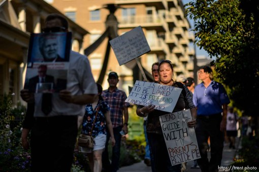 (Trent Nelson | The Salt Lake Tribune) People gathered in front of the LDS Church Administration Building Salt Lake City, Sunday Sept. 9, 2018 in support of Sam Young. Young was in a disciplinary hearing tonight after he made calls for changes to the church's youth interview process.
