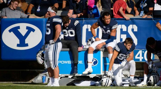 (Trent Nelson | The Salt Lake Tribune) BYU players on the sideline in the fourth quarter as BYU hosts Northern Illinois, NCAA football in Provo, Saturday Oct. 27, 2018.