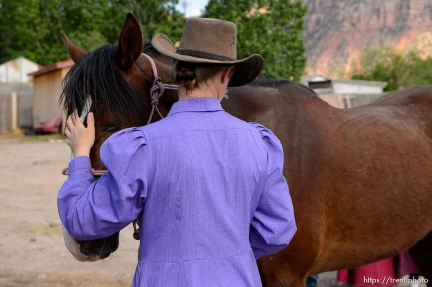 Trent Nelson | The Salt Lake Tribune flds farrier ladies shoeing horse, Monday May 8, 2017.