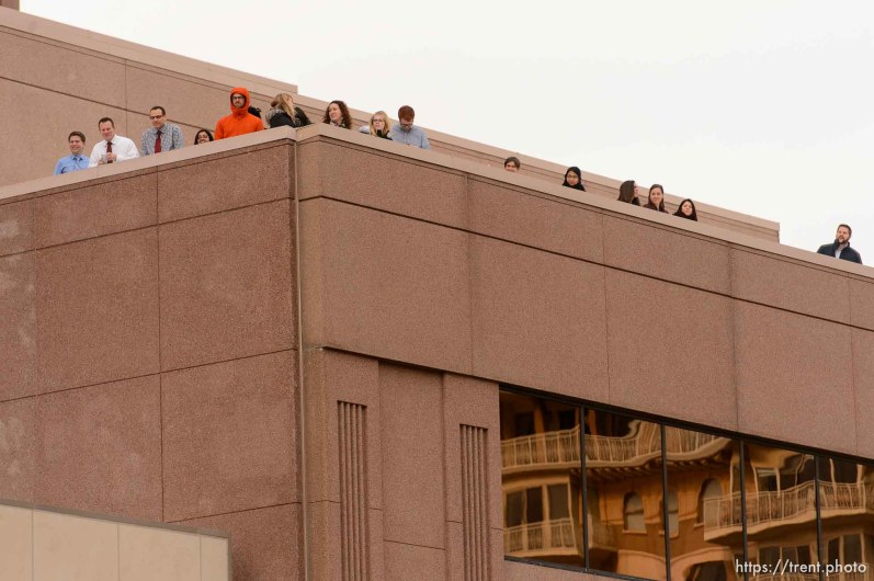 (Trent Nelson   The Salt Lake Tribune) A crowd looks on as police and protesters face off downtown after a rally against a visit by President Donald Trump, Monday December 4, 2017.