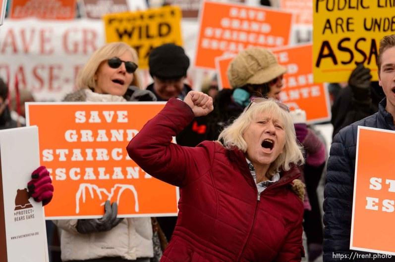 (Trent Nelson | The Salt Lake Tribune) Tami Sablan and other protesters chant before a visit by President Donald Trump, Monday December 4, 2017.