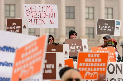 (Trent Nelson   The Salt Lake Tribune) Protesters gather before a visit by President Donald Trump, Monday December 4, 2017.