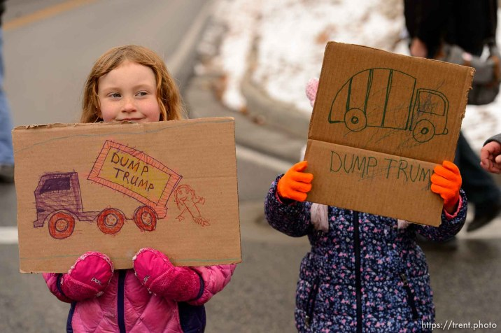 (Trent Nelson   The Salt Lake Tribune) Protesters rally against a visit by President Donald Trump, Monday December 4, 2017.