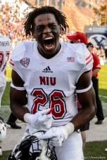 (Trent Nelson | The Salt Lake Tribune) Northern Illinois Huskies cornerback Antwain Walker (26) celebrates after a fourth quarter interception as BYU hosts Northern Illinois, NCAA football in Provo, Saturday Oct. 27, 2018.
