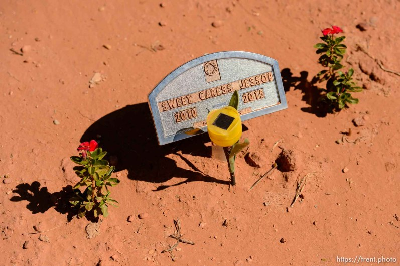 Trent Nelson | The Salt Lake Tribune grave markers for jessop family victims of 2015 flash flood, isaac carling cemetery, Wednesday September 14, 2016. sweet caress jessop