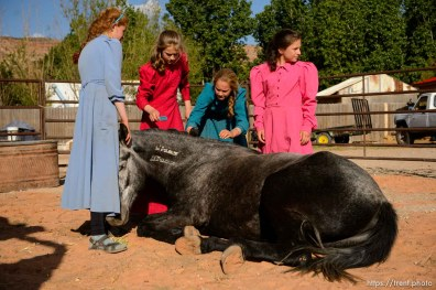 Trent Nelson | The Salt Lake Tribune flds children with horse, Monday May 8, 2017.