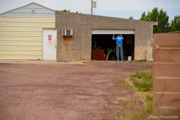 Trent Nelson | The Salt Lake Tribune The eviction of an empty home in Hildale, Tuesday May 9, 2017. Locksmith Kelvin Holdaway.