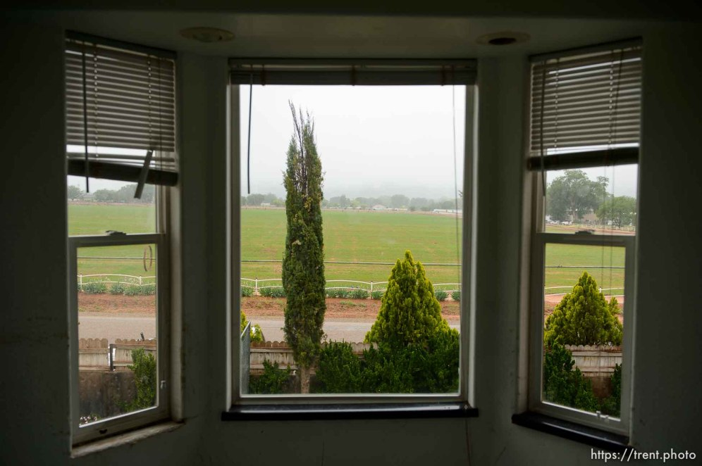 Trent Nelson | The Salt Lake Tribune view from window of home at 555 N Lauritzen Ave, Colorado City, AZ, Wednesday May 10, 2017. UEP evicted this property shortly after photo was taken.