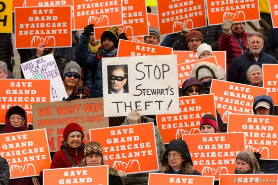 (Trent Nelson | The Salt Lake Tribune) Citizens with signs at a rally on the steps of the State Capitol Building in Salt Lake City against Rep. Chris Stewart's Grand Staircase bill that would create an Escalante National Park. Tuesday December 12, 2017.