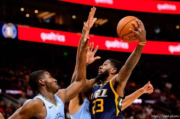 (Trent Nelson   The Salt Lake Tribune) Utah Jazz forward Royce O'Neale (23). Utah Jazz vs Memphis Grizzlies, NBA basketball in Salt Lake City on Friday Nov. 2, 2018.
