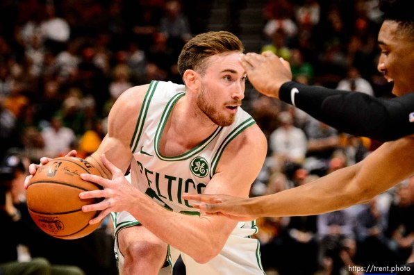 (Trent Nelson | The Salt Lake Tribune) Boston Celtics forward Gordon Hayward (20) defended by Utah Jazz guard Donovan Mitchell (45). Utah Jazz vs. Boston Celtics, NBA basketball in Salt Lake City on Friday Nov. 9, 2018.