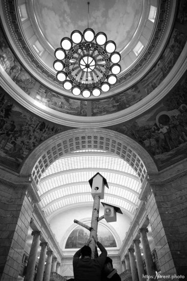 (Trent Nelson | The Salt Lake Tribune) A 12-foot birdhouse art installation broadcast statements from Utah constituents as Planned Parenthood Association of Utah and supporters gathered in a silent protest in the Utah State Capitol Rotunda on Friday March 1, 2019.