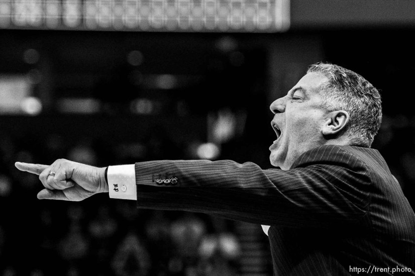 (Trent Nelson | The Salt Lake Tribune) Auburn Tigers head coach Bruce Pearl as Auburn faces New Mexico State in the 2019 NCAA Tournament in Salt Lake City on Thursday March 21, 2019.