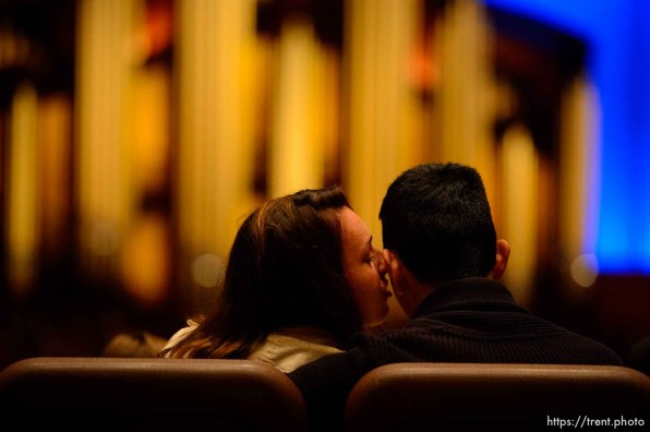 (Trent Nelson | The Salt Lake Tribune) A kiss received during the morning session of the189th Annual General Conference of The Church of Jesus Christ of Latter-day Saints in Salt Lake City on Sunday April 7, 2019.