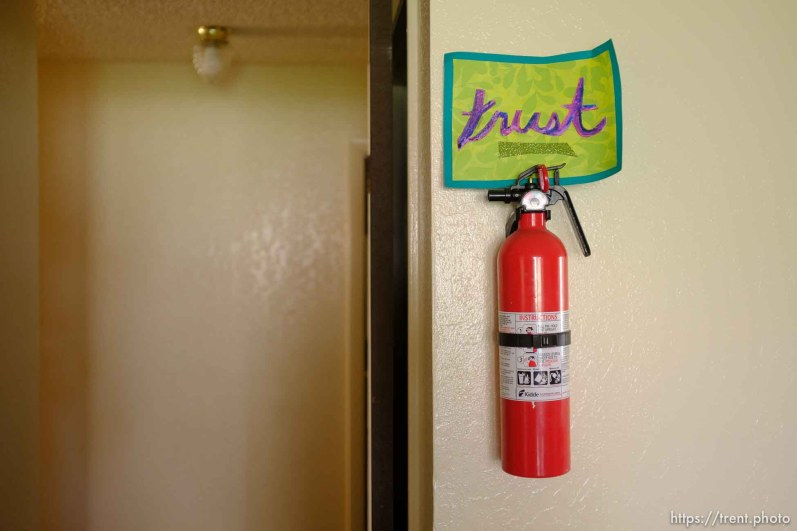 """(Trent Nelson   The Salt Lake Tribune) A sign reading """"Trust"""" in Michelle Densley's apartment in Salt Lake County on Monday April 8, 2019."""