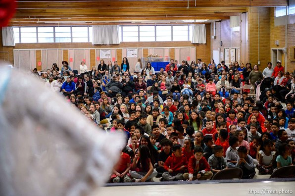 (Trent Nelson | The Salt Lake Tribune) Hillsdale Elementary students watch dancers from Ballet Folklorico during an assembly on Tuesday April 30, 2019. The West Valley School celebrated Children's Day, a national observance in Mexico.