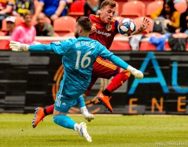 (Trent Nelson | The Salt Lake Tribune) Real Salt Lake forward Corey Baird (17) pushes the ball past Toronto FC goalkeeper Quentin Westberg (16) as Real Salt Lake hosts Toronto FC, MLS Soccer at Rio Tinto Stadium in Sandy on Saturday May 18, 2019.