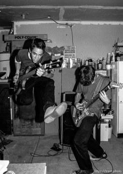 Rabid Lassie practice in Trent's garage.
