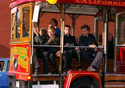 Priests on trolley at the Pope's visit.