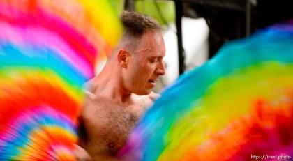 (Trent Nelson   The Salt Lake Tribune) Jason Suker dancing at the Utah Pride Festival in Salt Lake City on Saturday June 1, 2019.
