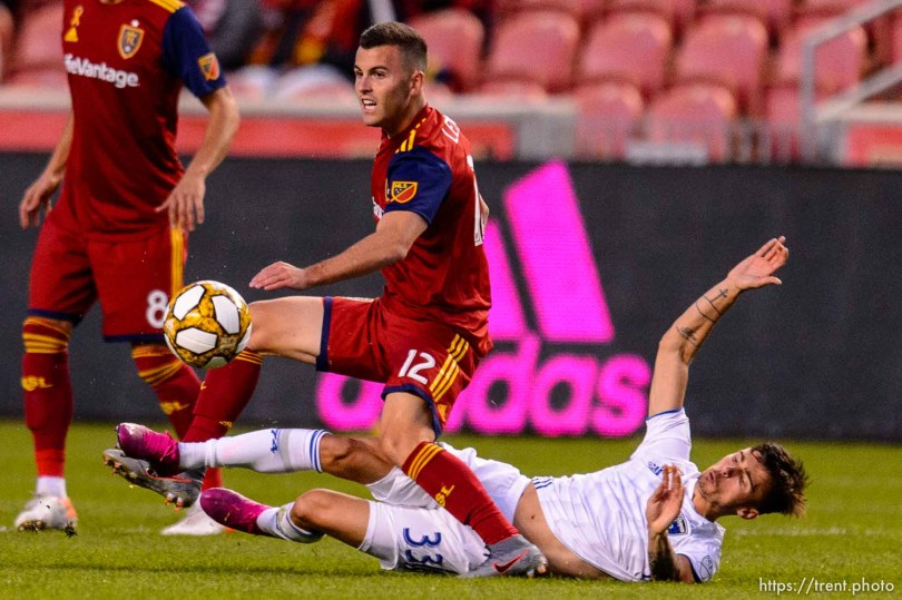 (Trent Nelson | The Salt Lake Tribune) Real Salt Lake forward Brooks Lennon (12) and San Jose Earthquakes defender Paul Marie (33) as Real Salt Lake hosts the San Jose Earthquakes, MLS soccer at Rio Tinto Stadium in Sandy on Wednesday Sept. 11, 2019.