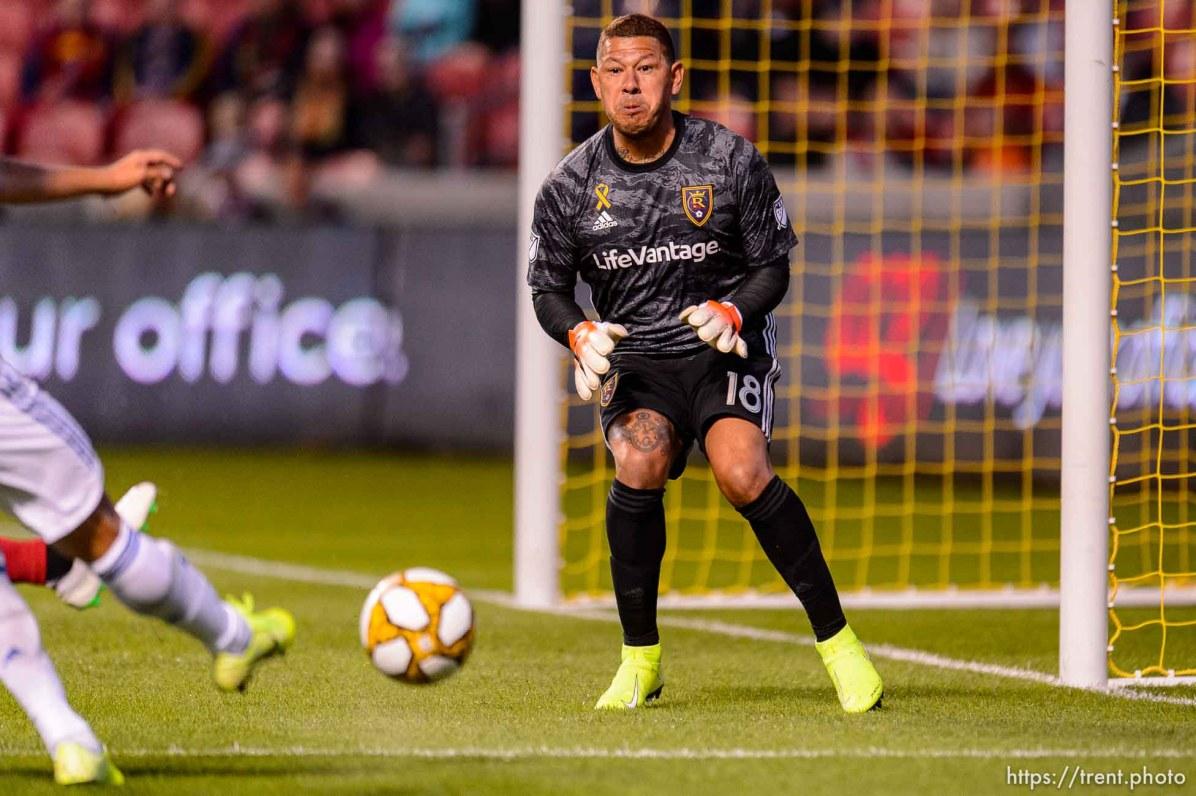 (Trent Nelson | The Salt Lake Tribune) Real Salt Lake goalkeeper Nick Rimando (18) makes a save as Real Salt Lake hosts the San Jose Earthquakes, MLS soccer at Rio Tinto Stadium in Sandy on Wednesday Sept. 11, 2019.