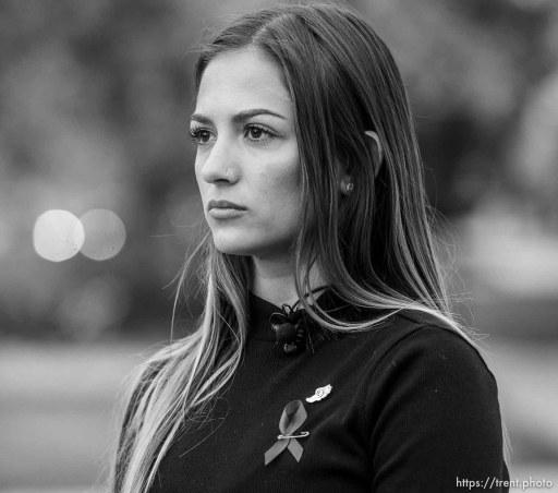(Trent Nelson | The Salt Lake Tribune) University of Utah Track & Field athlete Brooke Martin talks about her friend Lauren McCluskey following a vigil at the University of Utah in Salt Lake City on Tuesday Oct. 22, 2019.
