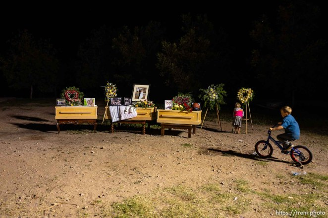 (Trent Nelson | The Salt Lake Tribune) The childrens' caskets and photgraphs on display following the funeral for Rhonita Miller and four of her children in La Mora, Sonora on Thursday Nov. 7, 2019.
