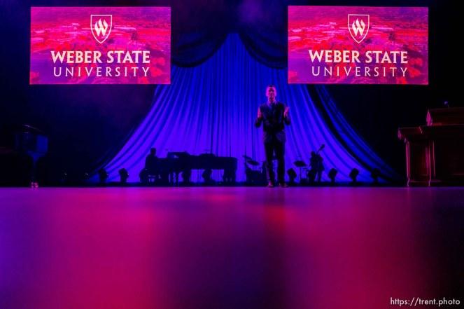 (Trent Nelson | The Salt Lake Tribune) Brad Mortensen speaks at his inauguration as the president of Weber State University in Ogden on Tuesday, Jan. 7, 2020.