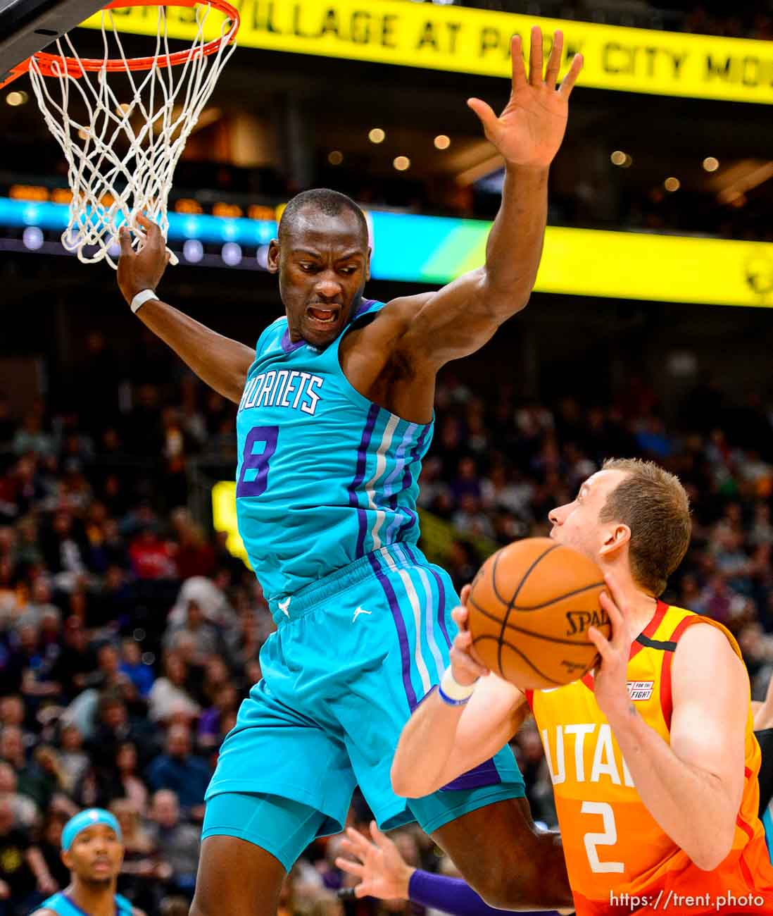 (Trent Nelson | The Salt Lake Tribune) Utah Jazz forward Joe Ingles (2) defended by Charlotte Hornets center Bismack Biyombo (8) as the Utah Jazz host the Charlotte Hornets, NBA basketball in Salt Lake City on Friday, Jan. 10, 2020.