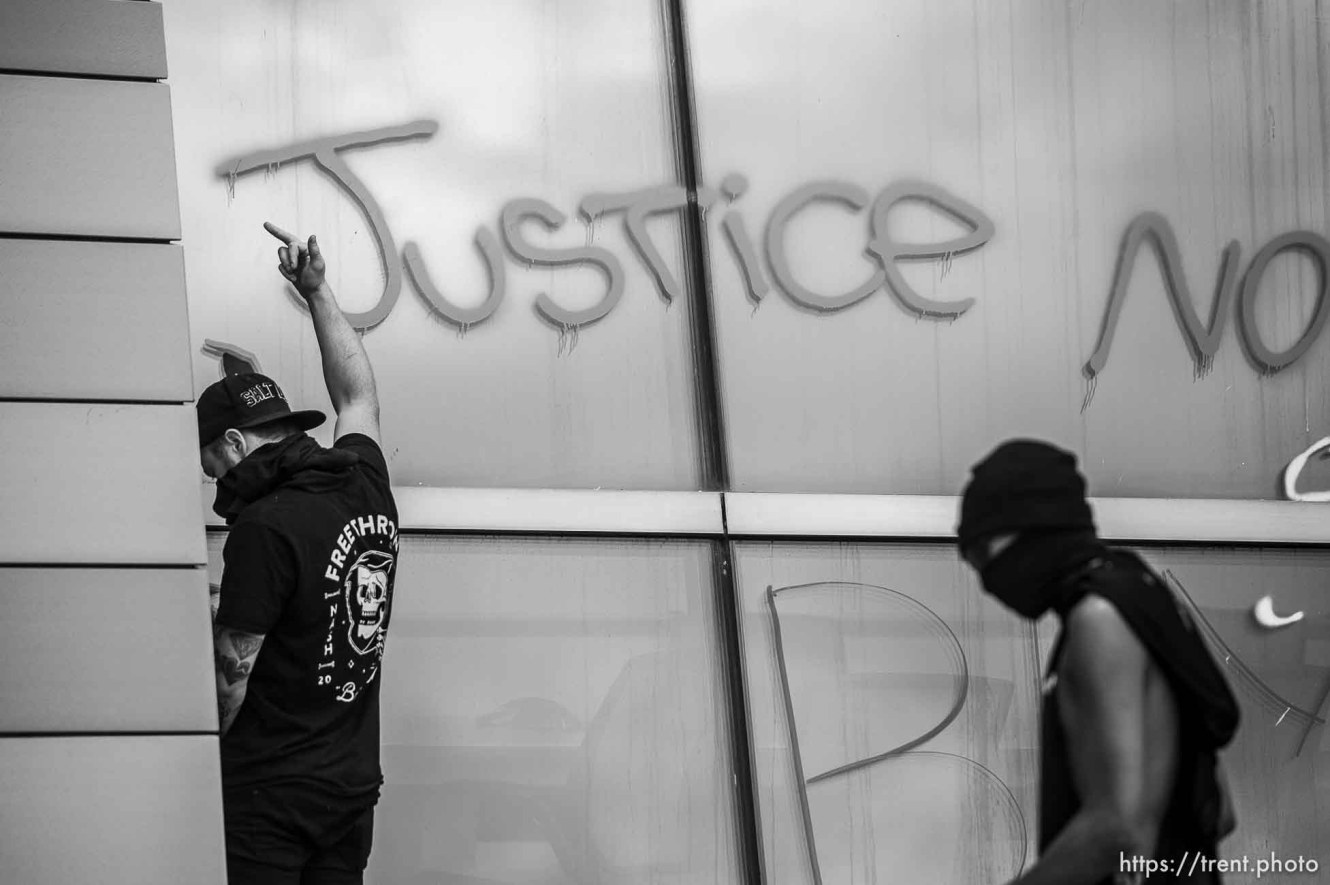 (Trent Nelson | The Salt Lake Tribune) Public Safety Building. Rally against police brutality in Salt Lake City on Saturday, May 30, 2020.