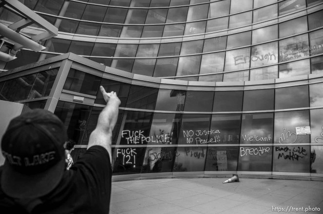 (Trent Nelson | The Salt Lake Tribune) The Salt Lake City Police Department headquarters. A protest against police brutality turned violent in Salt Lake City on Saturday, May 30, 2020.