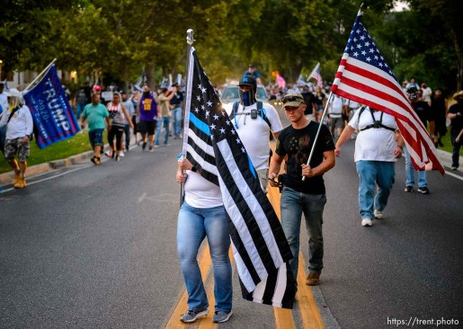 (Trent Nelson | The Salt Lake Tribune) A rally in support of police walking down State Street in Salt Lake City on Saturday, Aug. 22, 2020.